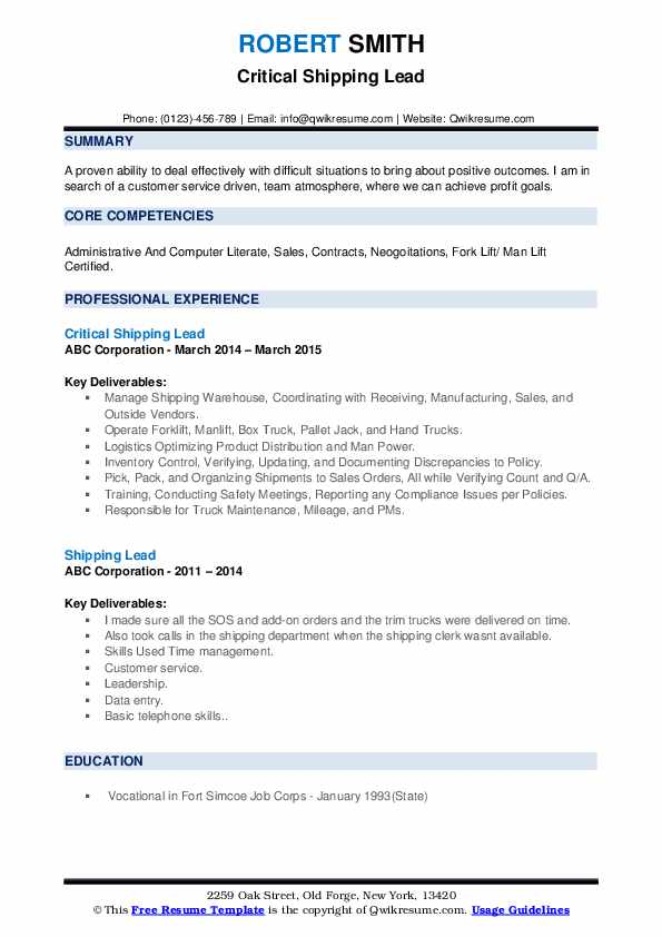 Critical Shipping Lead Resume Model