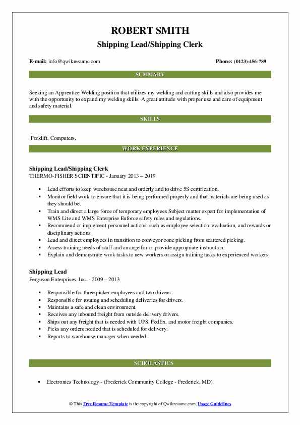 Shipping Lead/Shipping Clerk Resume Format