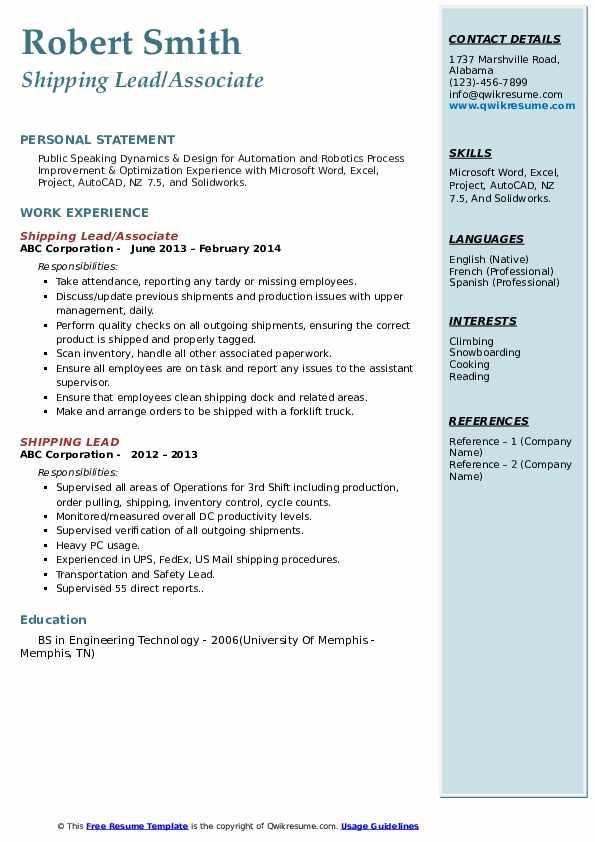 Shipping Lead/Associate Resume Format