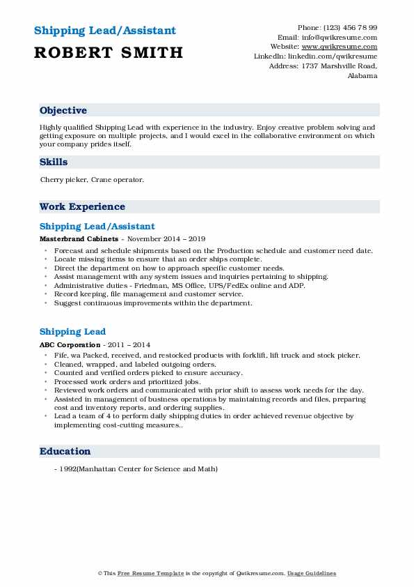 Shipping Lead/Assistant Resume Format