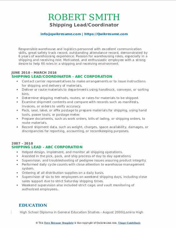 Shipping Lead/Coordinator Resume Sample