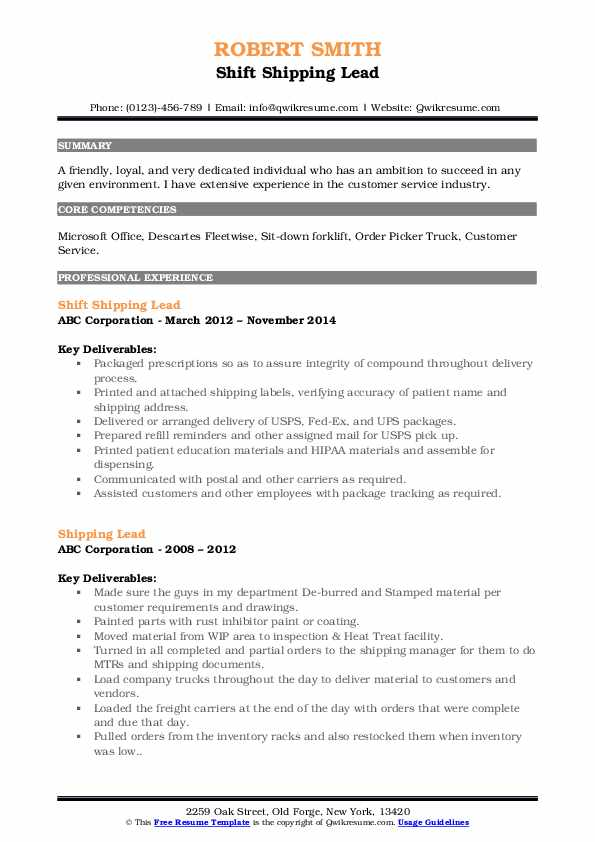 Shift Shipping Lead Resume Format