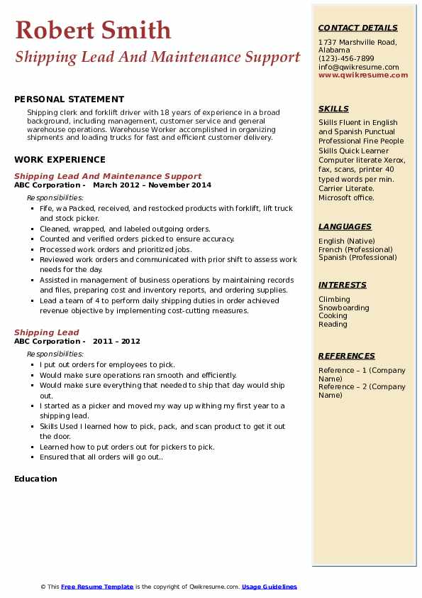Shipping Lead And Maintenance Support  Resume Example