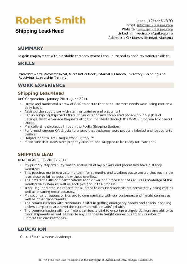 Shipping Lead/Head Resume Model