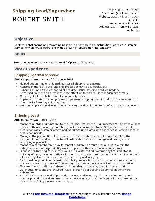 Shipping Lead/Supervisor Resume Format
