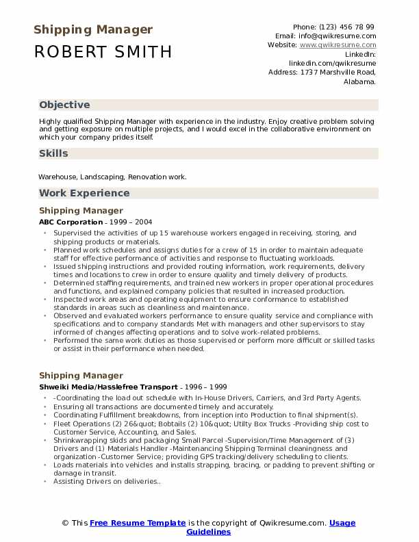 Shipping Manager Resume Model