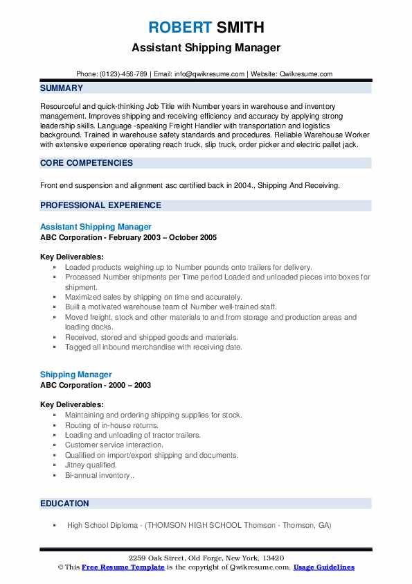 Assistant Shipping Manager Resume Format