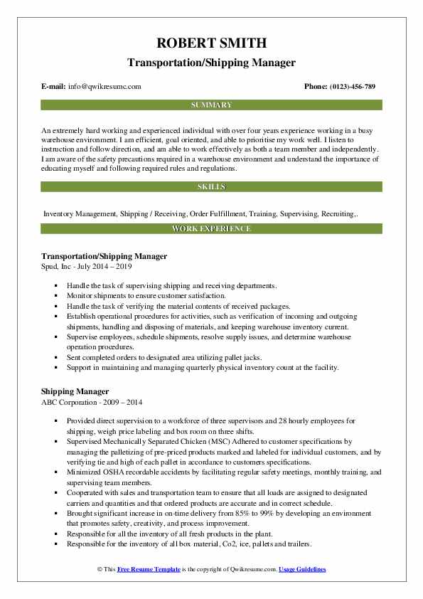 Transportation/Shipping Manager Resume Template