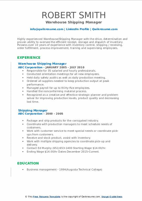 Warehouse Shipping Manager Resume Model