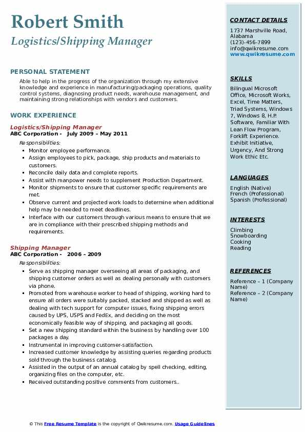 Logistics/Shipping Manager Resume Format