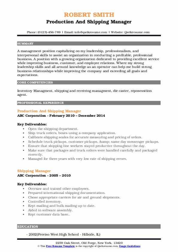 Production And Shipping Manager Resume Format