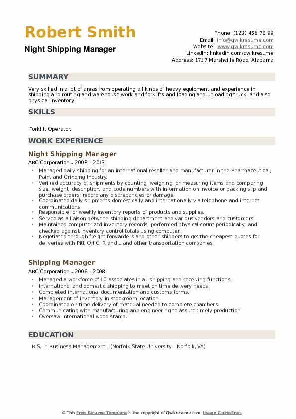 Night Shipping Manager Resume Sample