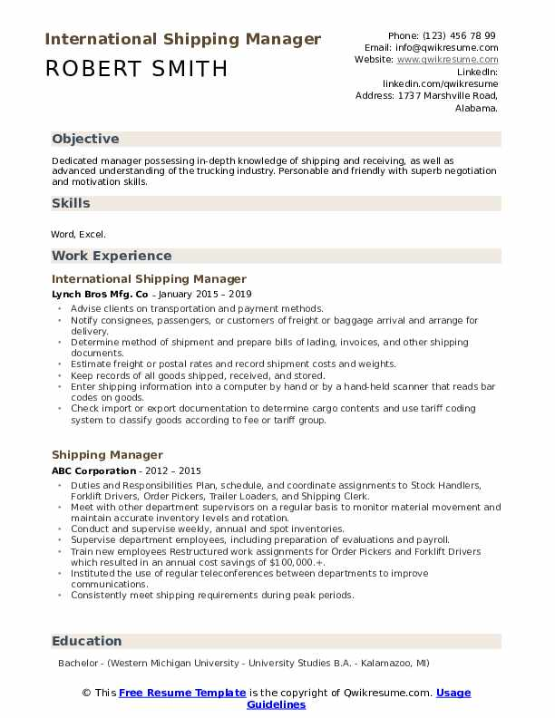 International Shipping Manager Resume Template