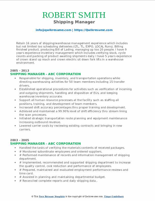 Receiving Lead/Machine Operator Resume Sample