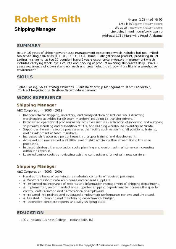 Delivery Supervisor Resume example
