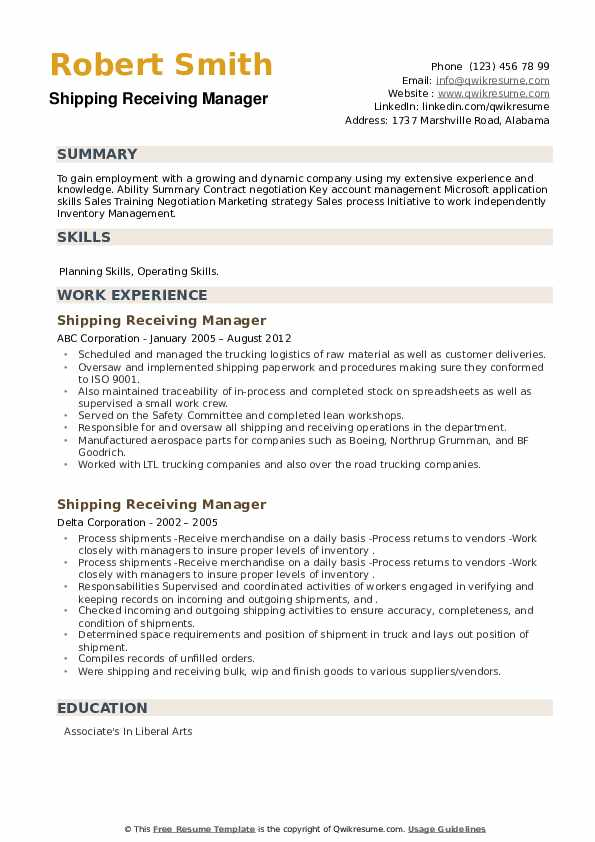 Shipping Receiving Manager Resume example