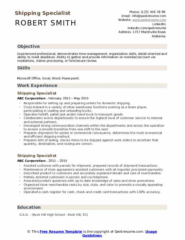 Shipping Specialist Resume Model