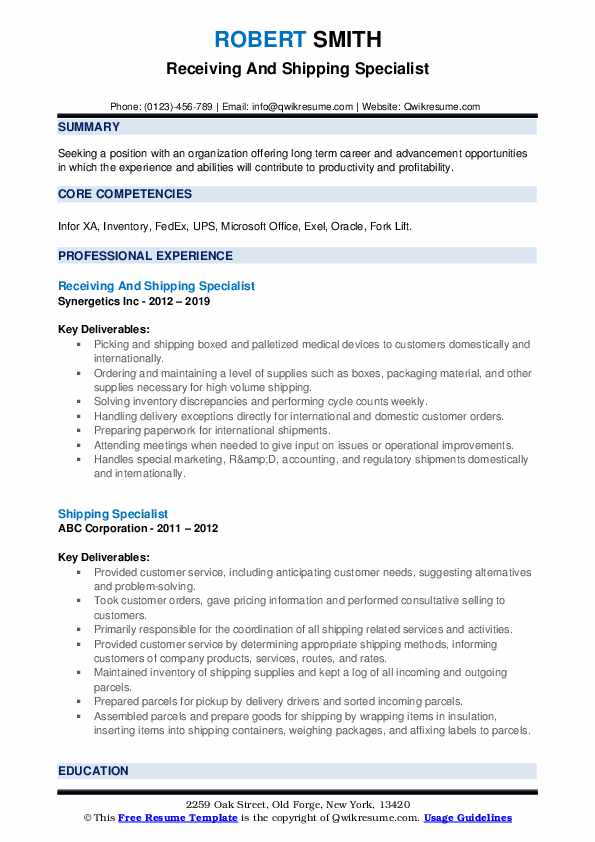 Receiving And Shipping Specialist Resume Sample