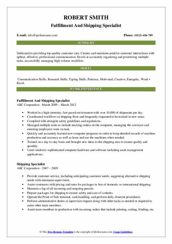 Fulfillment And Shipping Specialist Resume Example