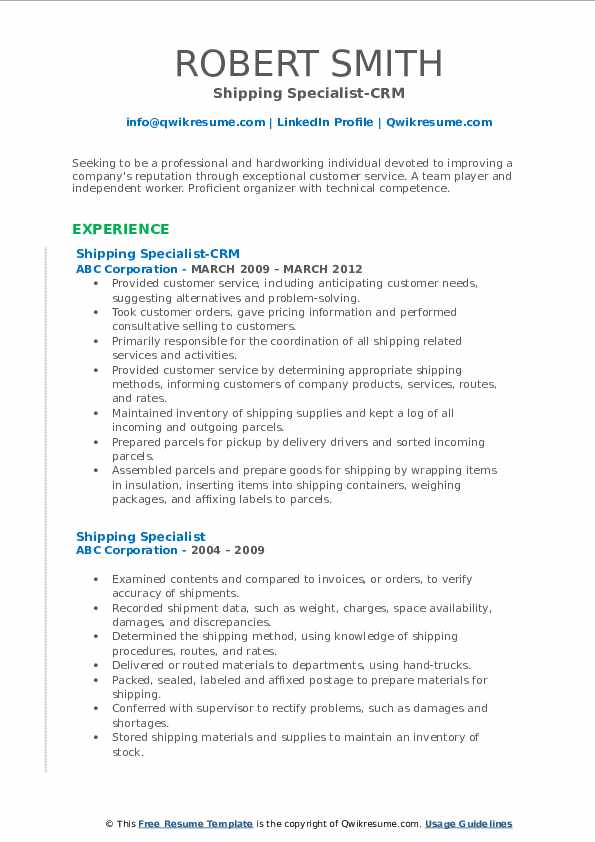 Shipping Specialist-CRM Resume Sample