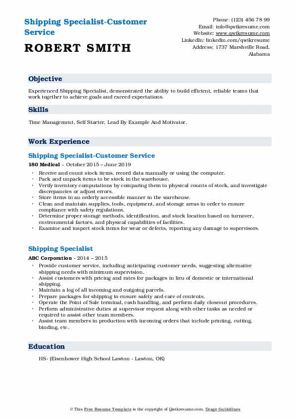 Shipping Specialist-Customer Service Resume Model