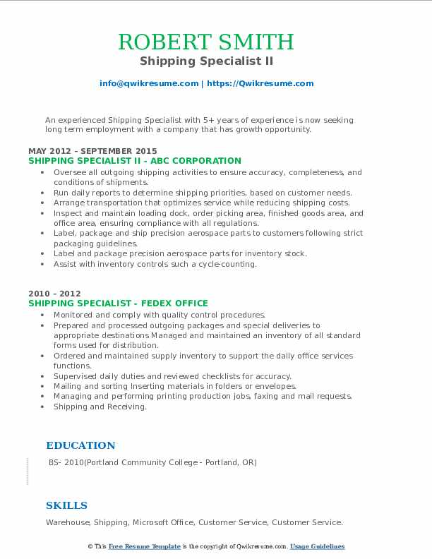 Shipping Specialist II Resume Sample