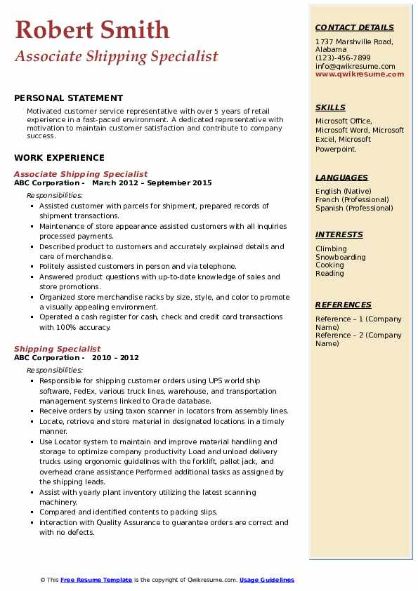Associate Shipping Specialist Resume Example