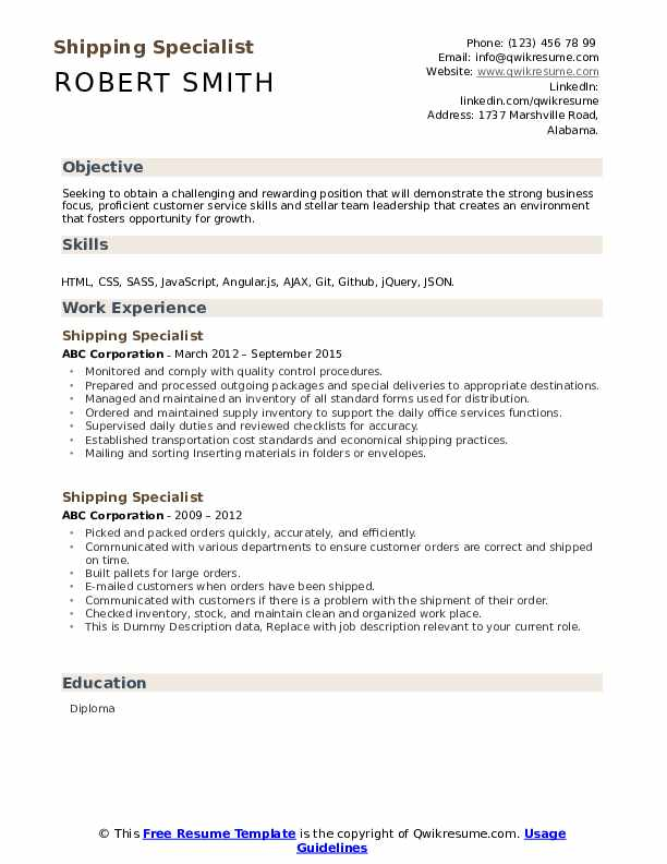 Shipping Specialist Resume example