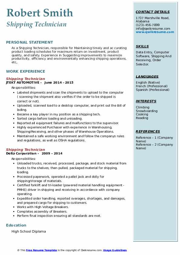shipping technician resume samples  qwikresume