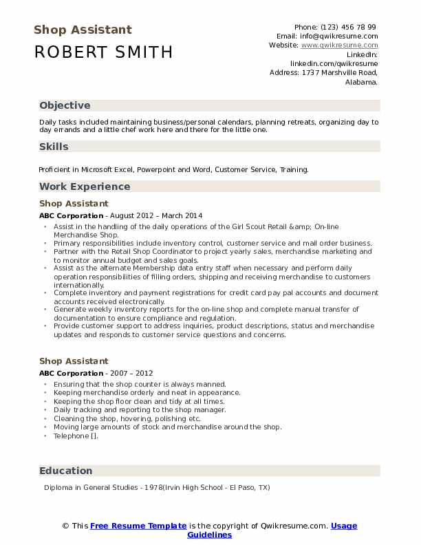 Shop Assistant Resume Format