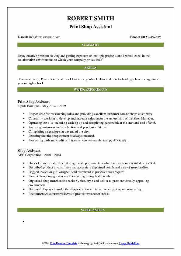 Print Shop Assistant Resume Format
