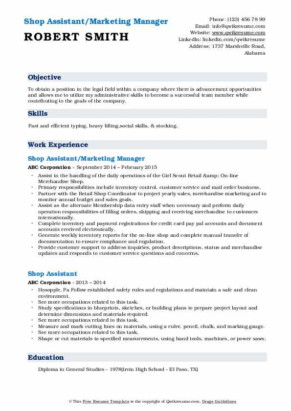 Shop Assistant/Marketing Manager Resume Format