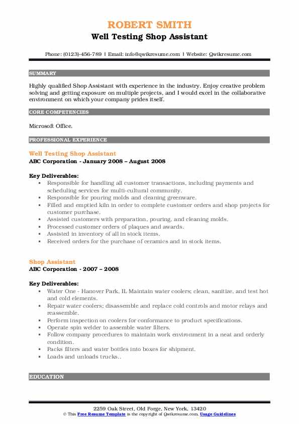 Well Testing Shop Assistant Resume Model