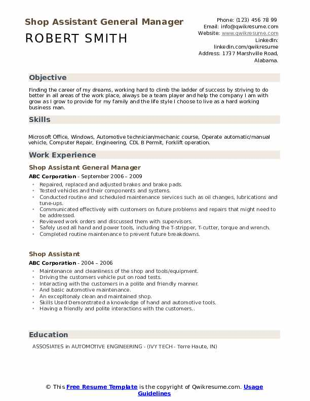 Shop Assistant General Manager Resume Template