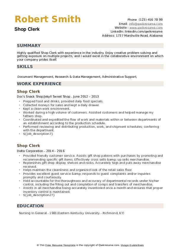 Shop Clerk Resume example