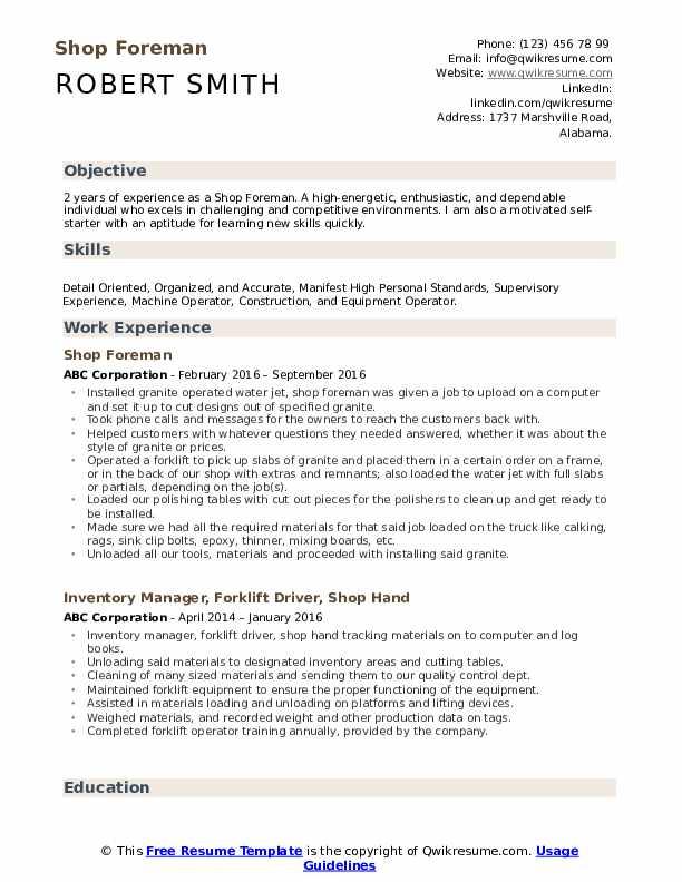 Shop Foreman  Resume Model