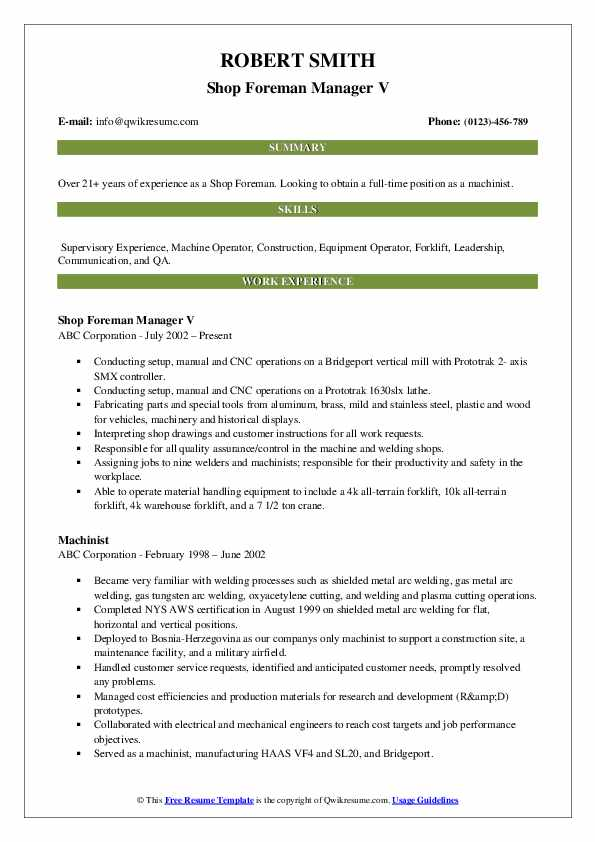 Shop Foreman Manager V Resume Model