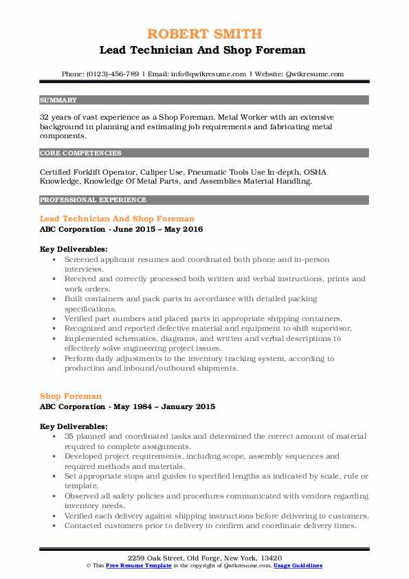 Lead Technician And Shop Foreman  Resume Format