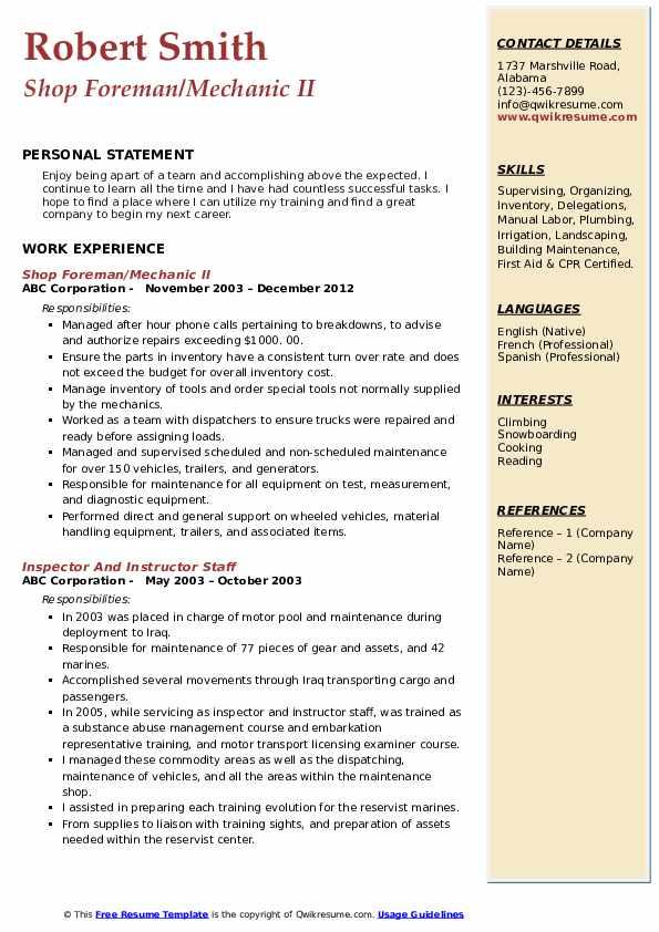 Shop Foreman/Mechanic II Resume Sample