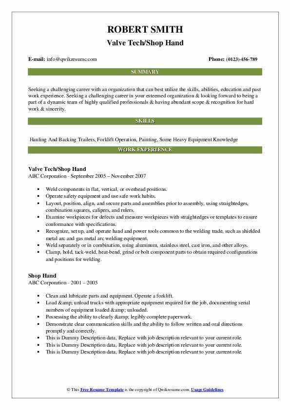 Valve Tech/Shop Hand Resume Example