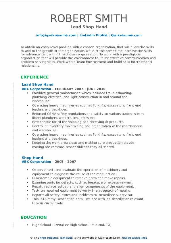 Lead Shop Hand Resume Format