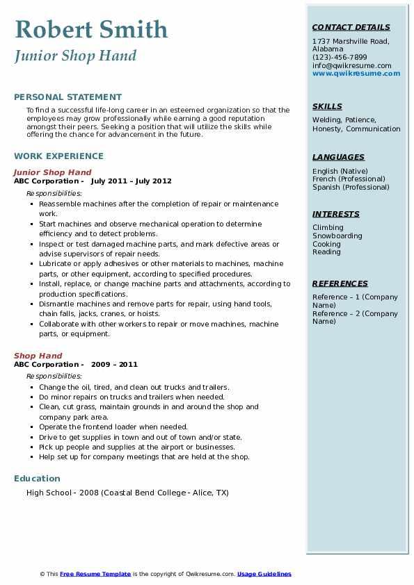 Junior Shop Hand Resume Format