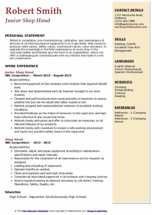 Junior Shop Hand Resume Model