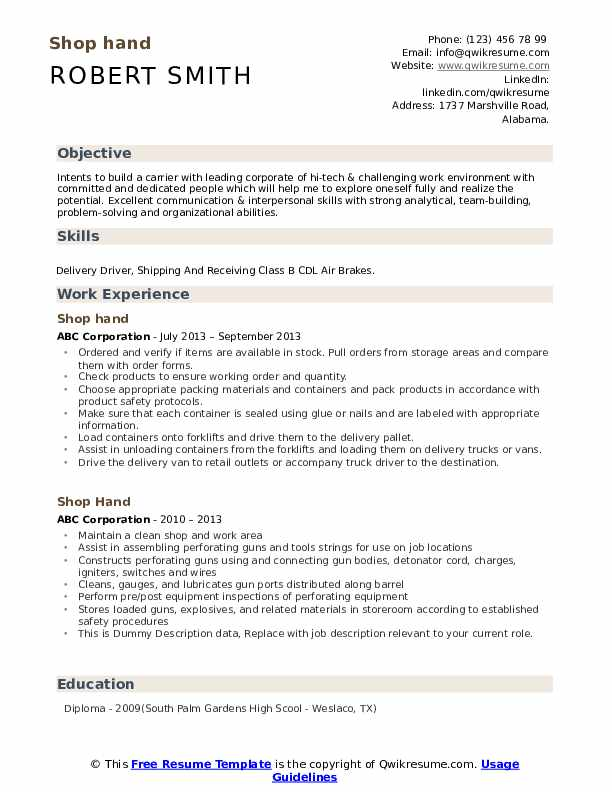 Shop Hand Resume example