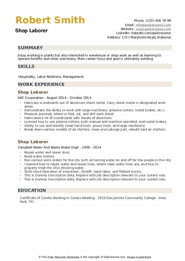 Shop Laborer Resume example