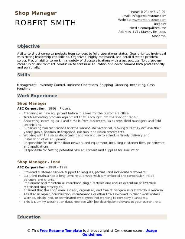 Shop Manager Resume Example