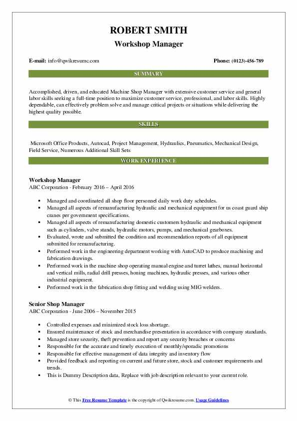 Workshop Manager Resume Example