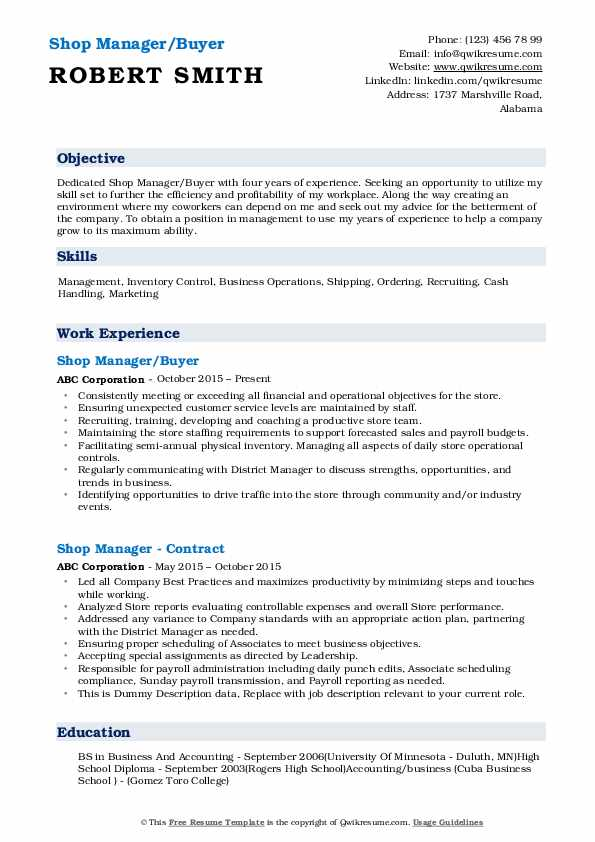 Shop Manager/Buyer Resume Template