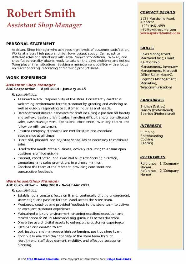 Assistant Shop Manager Resume Template