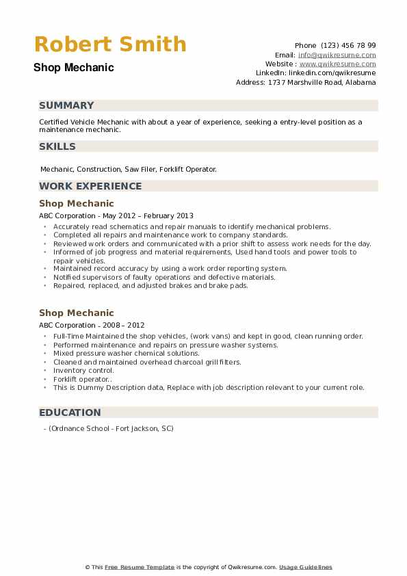 Shop Mechanic Resume example